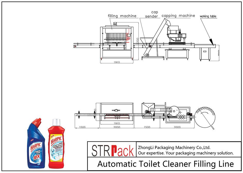 Automatische vullijn voor toiletreinigers